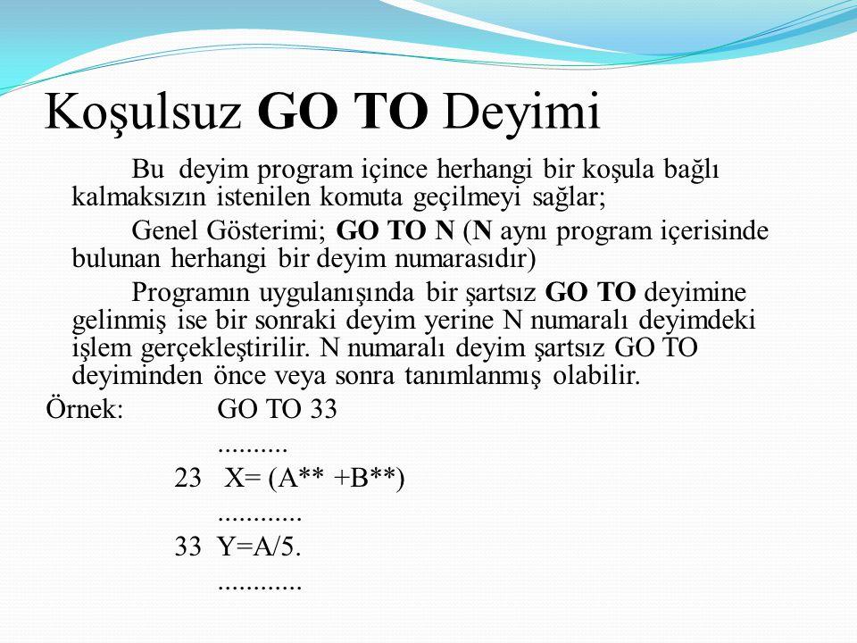 Koşulsuz GO TO Deyimi Bu deyim program içince herhangi bir koşula bağlı kalmaksızın istenilen komuta geçilmeyi sağlar; Genel Gösterimi; GO TO N (N ayn