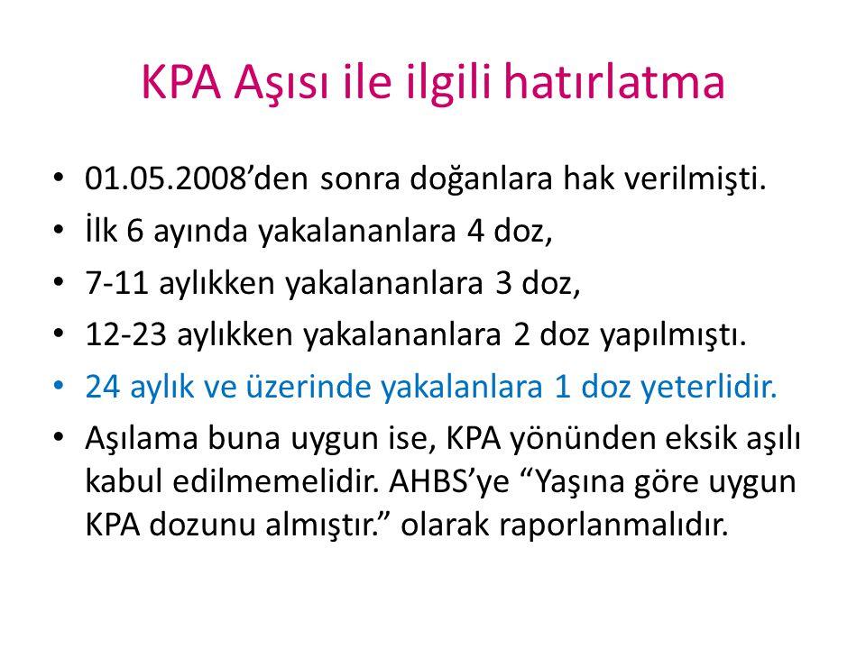 KPA Aşısı ile ilgili hatırlatma 01.05.2008'den sonra doğanlara hak verilmişti. İlk 6 ayında yakalananlara 4 doz, 7-11 aylıkken yakalananlara 3 doz, 12