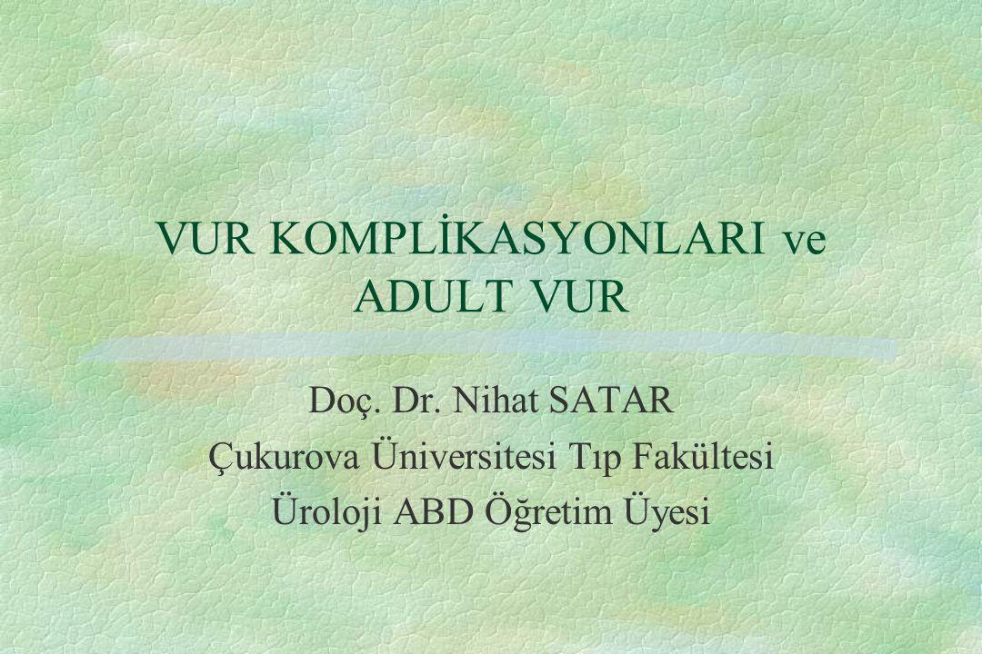 VUR KOMPLİKASYONLARI ve ADULT VUR Doç. Dr. Nihat SATAR Çukurova Üniversitesi Tıp Fakültesi Üroloji ABD Öğretim Üyesi
