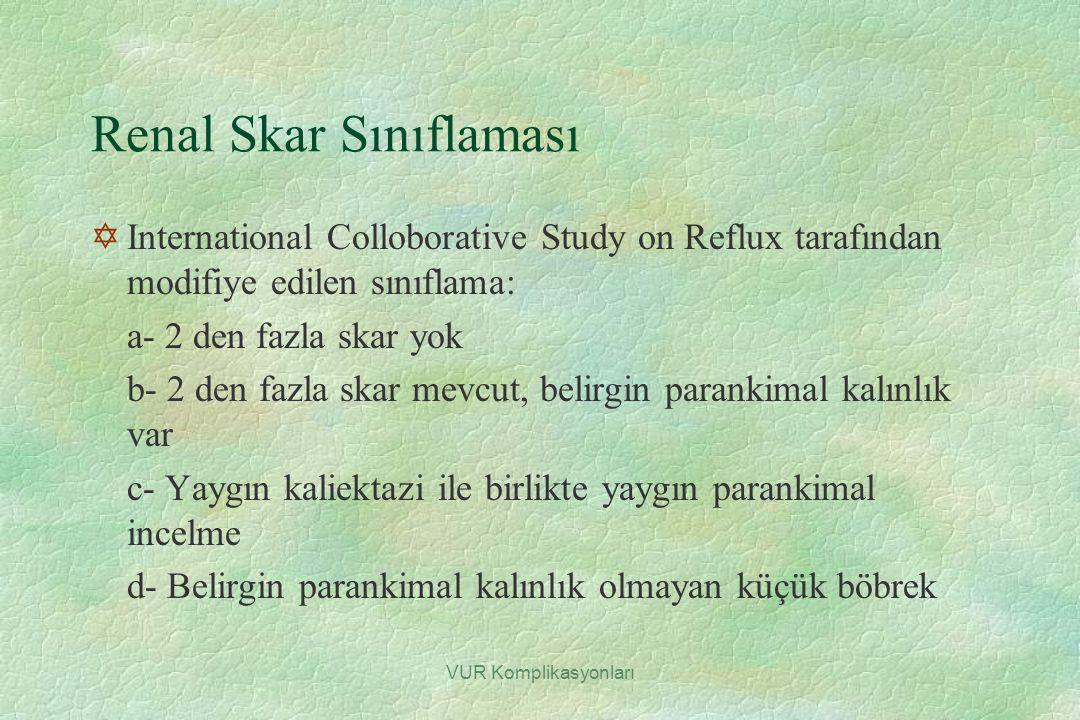 VUR Komplikasyonları Renal Skar Sınıflaması YInternational Colloborative Study on Reflux tarafından modifiye edilen sınıflama: a- 2 den fazla skar yok