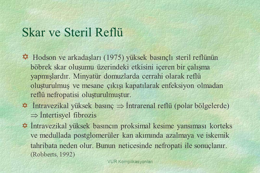 VUR Komplikasyonları Skar ve Steril Reflü Y Hodson ve arkadaşları (1975) yüksek basınçlı steril reflünün böbrek skar oluşumu üzerindeki etkisini içere
