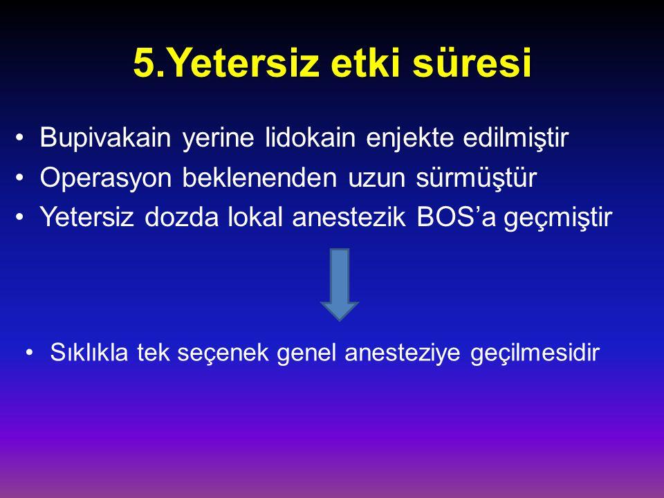 5.Yetersiz etki süresi Bupivakain yerine lidokain enjekte edilmiştir Operasyon beklenenden uzun sürmüştür Yetersiz dozda lokal anestezik BOS'a geçmişt