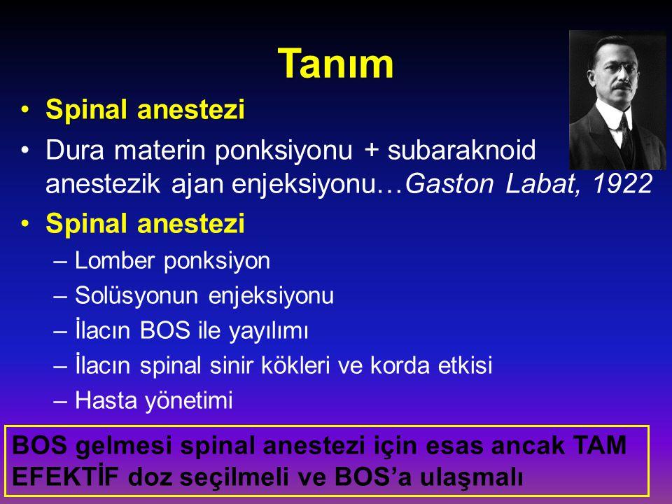 Tanım Spinal anesteziSpinal anestezi Dura materin ponksiyonu + subaraknoid anestezik ajan enjeksiyonu…Gaston Labat, 1922 Spinal anestezi –Lomber ponks