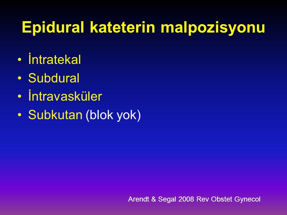 Epidural kateterin malpozisyonu İntratekal Subdural İntravasküler Subkutan (blok yok) Arendt & Segal 2008 Rev Obstet Gynecol