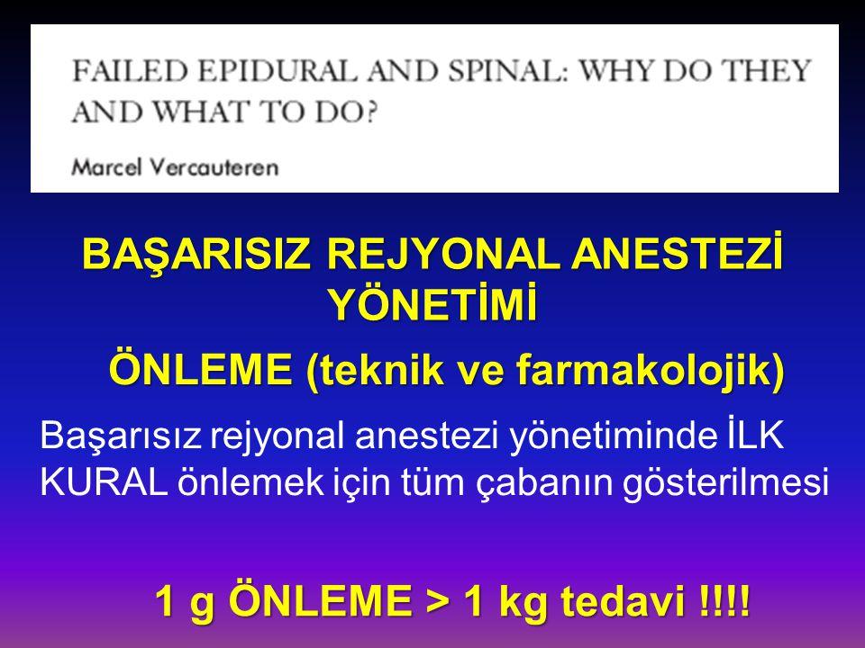 BAŞARISIZ REJYONAL ANESTEZİ YÖNETİMİ ÖNLEME (teknik ve farmakolojik) 1 g ÖNLEME > 1 kg tedavi !!!! 1 g ÖNLEME > 1 kg tedavi !!!! Başarısız rejyonal an