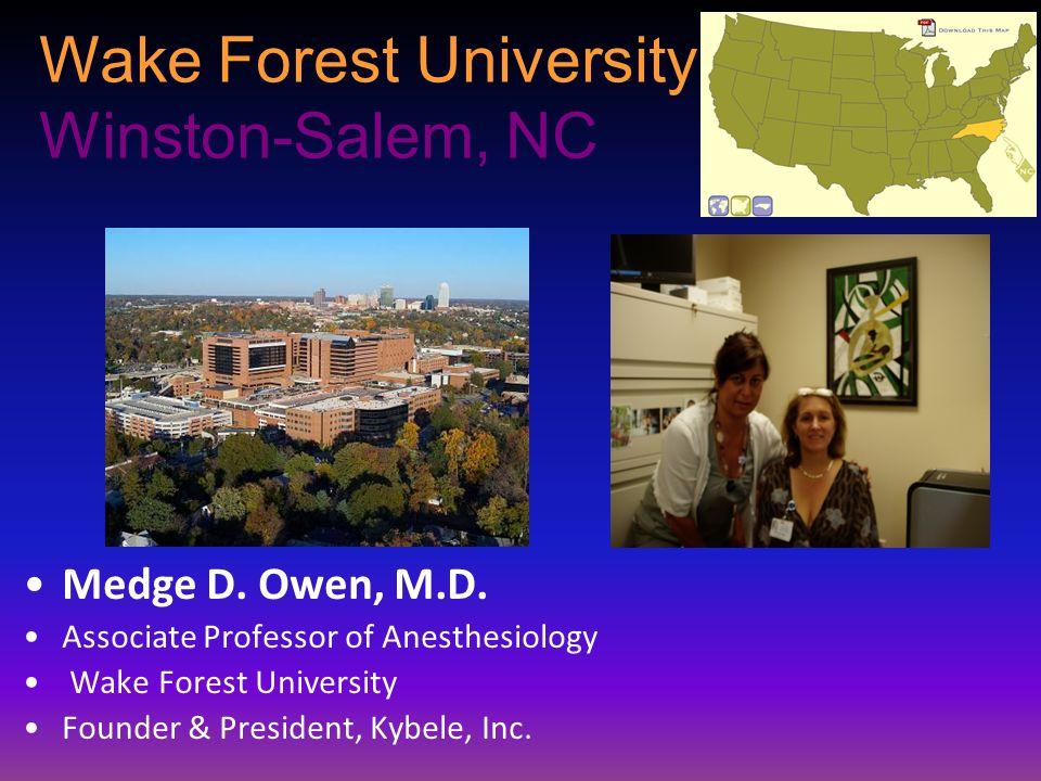 Wake Forest University Winston-Salem, NC Medge D. Owen, M.D. Associate Professor of Anesthesiology Wake Forest University Founder & President, Kybele,