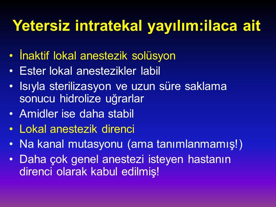 Yetersiz intratekal yayılım:ilaca ait İnaktif lokal anestezik solüsyon Ester lokal anestezikler labil Isıyla sterilizasyon ve uzun süre saklama sonucu