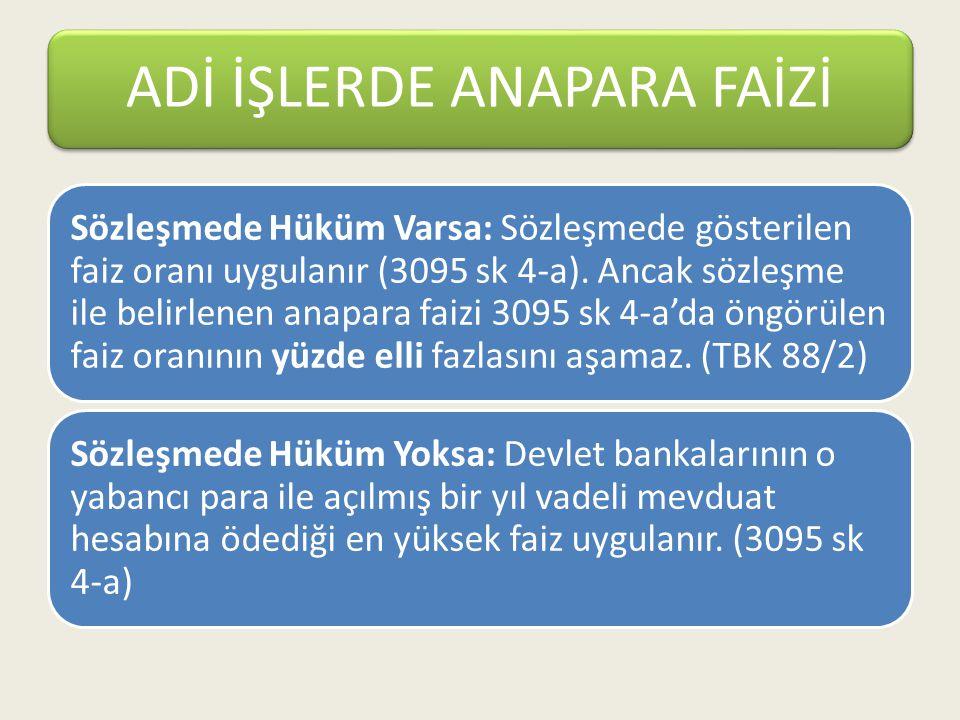 Sözleşmede Hüküm Varsa: Sözleşmede gösterilen faiz oranı uygulanır (3095 sk 4-a). Ancak sözleşme ile belirlenen anapara faizi 3095 sk 4-a'da öngörülen