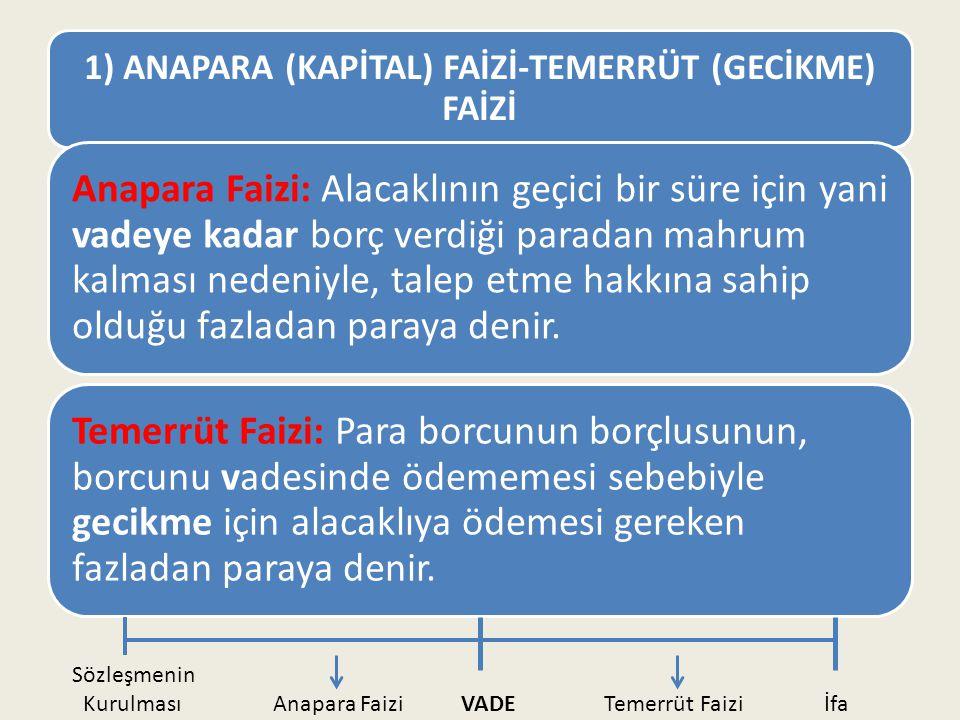 1) ANAPARA (KAPİTAL) FAİZİ-TEMERRÜT (GECİKME) FAİZİ Anapara Faizi: Alacaklının geçici bir süre için yani vadeye kadar borç verdiği paradan mahrum kalm