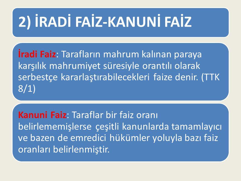 2) İRADİ FAİZ-KANUNİ FAİZ İradi Faiz: Tarafların mahrum kalınan paraya karşılık mahrumiyet süresiyle orantılı olarak serbestçe kararlaştırabilecekleri