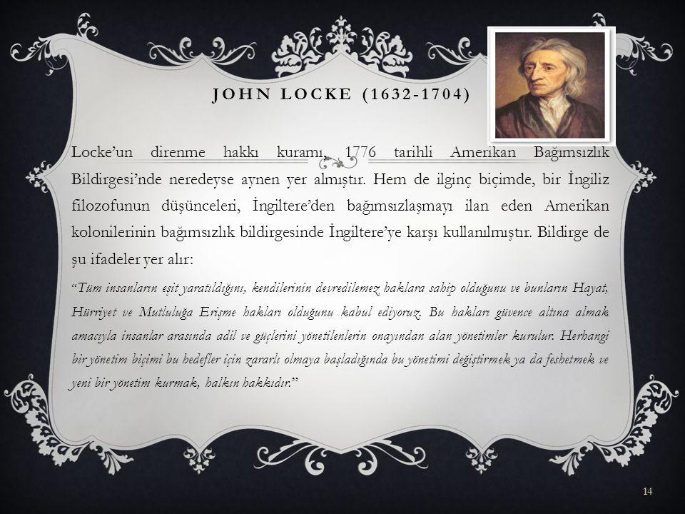 Locke'un direnme hakkı kuramı, 1776 tarihli Amerikan Bağımsızlık Bildirgesi'nde neredeyse aynen yer almıştır. Hem de ilginç biçimde, bir İngiliz filoz