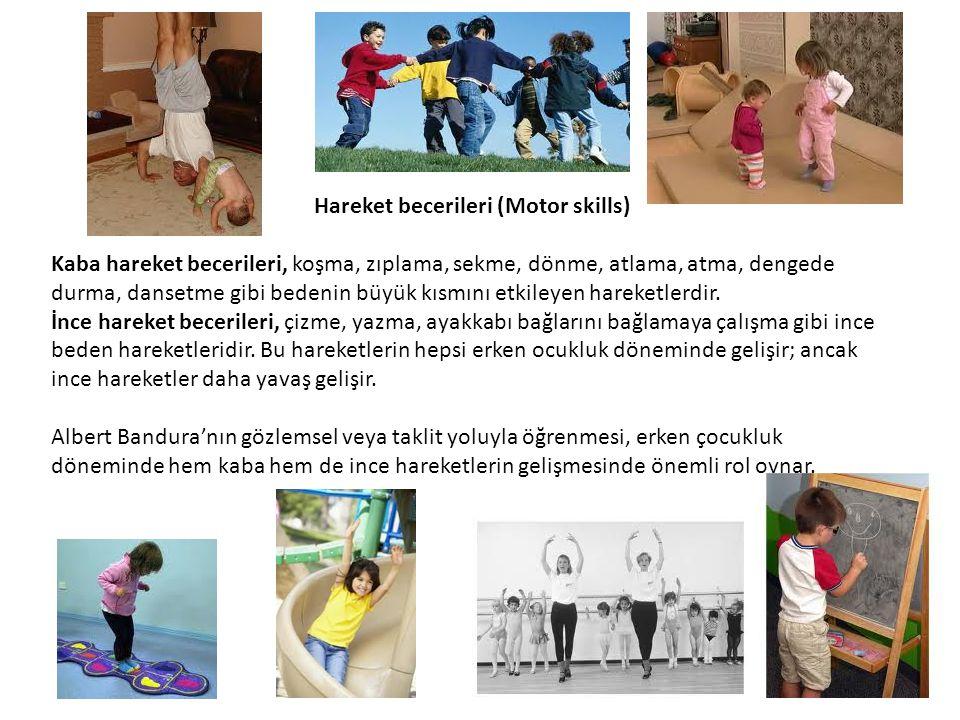 Hareket becerileri (Motor skills) Kaba hareket becerileri, koşma, zıplama, sekme, dönme, atlama, atma, dengede durma, dansetme gibi bedenin büyük kısm