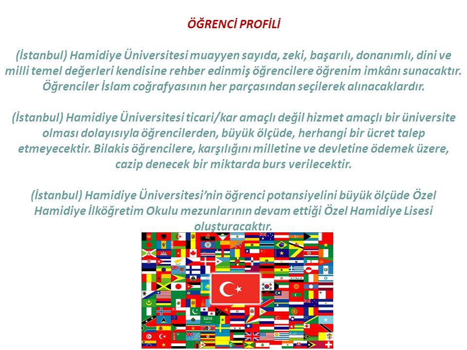 ÖĞRENCİ PROFİLİ (İstanbul) Hamidiye Üniversitesi muayyen sayıda, zeki, başarılı, donanımlı, dini ve milli temel değerleri kendisine rehber edinmiş öğr