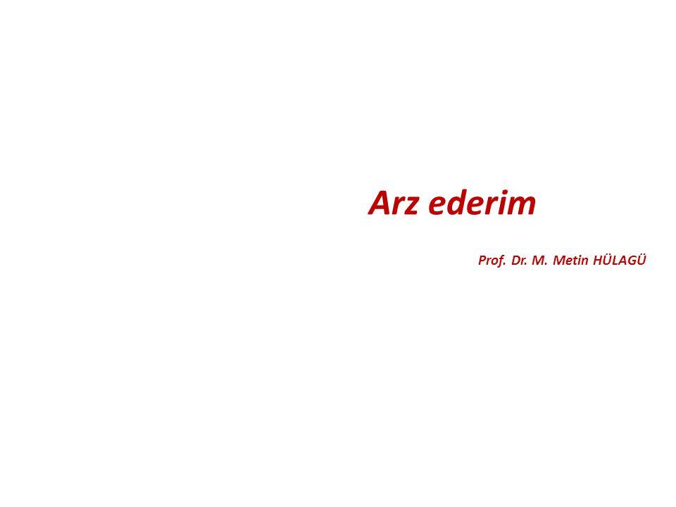 Arz ederim Prof. Dr. M. Metin HÜLAGÜ