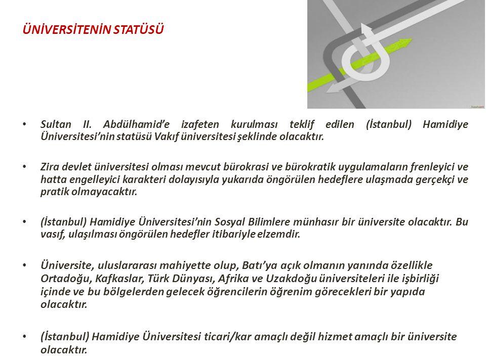 ÜNİVERSİTENİN STATÜSÜ Sultan II. Abdülhamid'e izafeten kurulması teklif edilen (İstanbul) Hamidiye Üniversitesi'nin statüsü Vakıf üniversitesi şeklind
