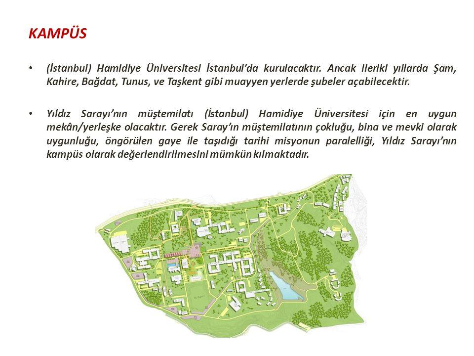 KAMPÜS (İstanbul) Hamidiye Üniversitesi İstanbul'da kurulacaktır. Ancak ileriki yıllarda Şam, Kahire, Bağdat, Tunus, ve Taşkent gibi muayyen yerlerde