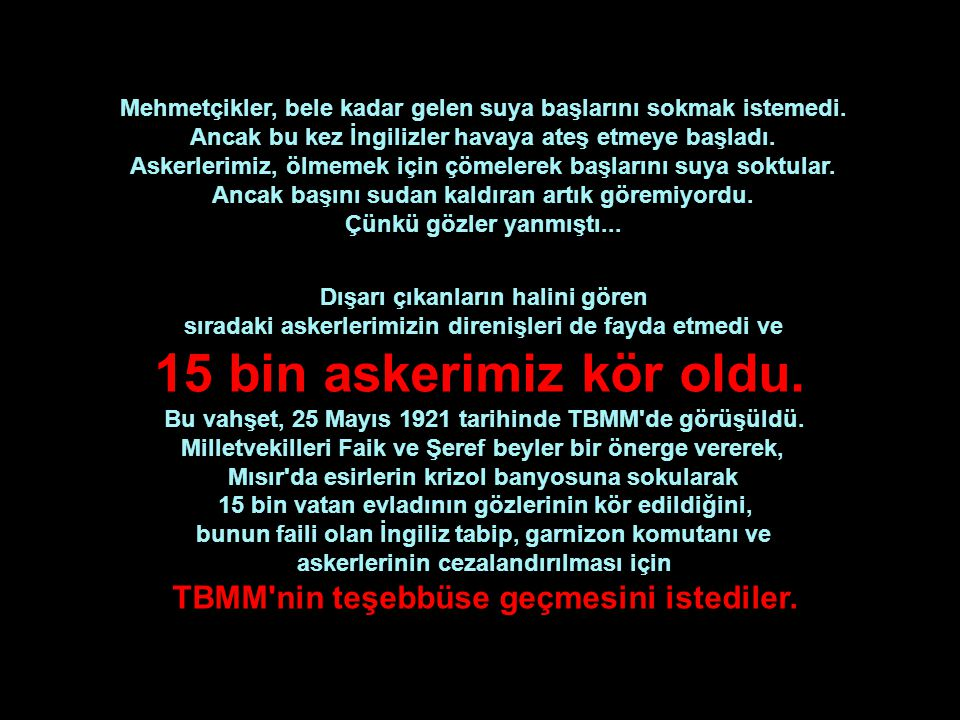 Kamptaki, Türkçe bilen Ermeni tercümanların yalan, yanlış çevirileri ve kışkırtmaları nedeniyle, kampların İngiliz komutanları, azılı Türk düşmanı kes