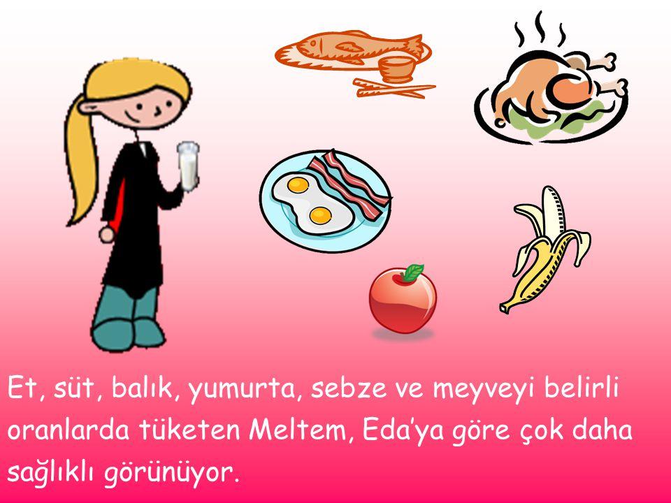 Et, süt, balık, yumurta, sebze ve meyveyi belirli oranlarda tüketen Meltem, Eda'ya göre çok daha sağlıklı görünüyor.