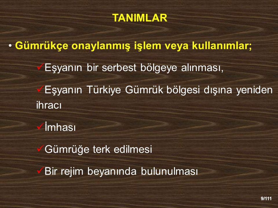 9/111 TANIMLAR Gümrükçe onaylanmış işlem veya kullanımlar; Eşyanın bir serbest bölgeye alınması, Eşyanın Türkiye Gümrük bölgesi dışına yeniden ihracı İmhası Gümrüğe terk edilmesi Bir rejim beyanında bulunulması