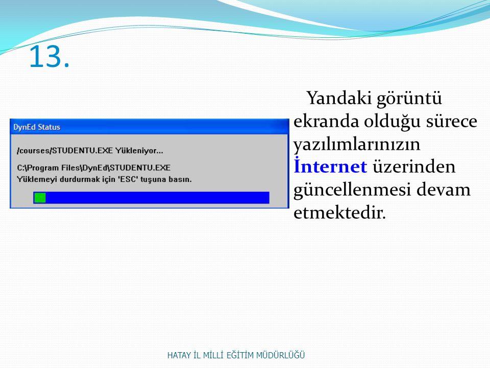 13. Yandaki görüntü ekranda olduğu sürece yazılımlarınızın İnternet üzerinden güncellenmesi devam etmektedir. HATAY İL MİLLİ EĞİTİM MÜDÜRLÜĞÜ