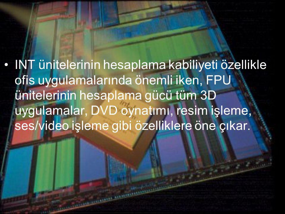INT ünitelerinin hesaplama kabiliyeti özellikle ofis uygulamalarında önemli iken, FPU ünitelerinin hesaplama gücü tüm 3D uygulamalar, DVD oynatımı, resim işleme, ses/video işleme gibi özelliklere öne çıkar.