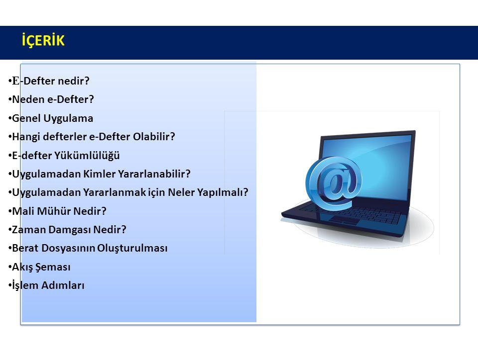 İÇERİKİÇERİK E -Defter nedir? Neden e-Defter? Genel Uygulama Hangi defterler e-Defter Olabilir? E-defter Yükümlülüğü Uygulamadan Kimler Yararlanabilir