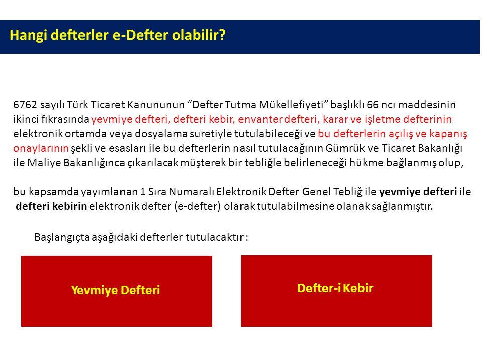 """Hangi defterler e-Defter olabilir? Yevmiye DefteriYevmiye Defteri Defter-i KebirDefter-i Kebir 6762 sayılı Türk Ticaret Kanununun """"Defter Tutma Mükell"""