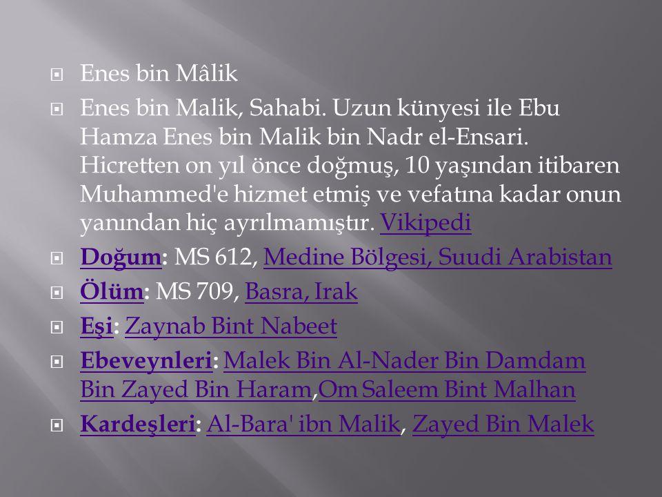  Enes bin Mâlik  Enes bin Malik, Sahabi. Uzun künyesi ile Ebu Hamza Enes bin Malik bin Nadr el-Ensari. Hicretten on yıl önce doğmuş, 10 yaşından iti