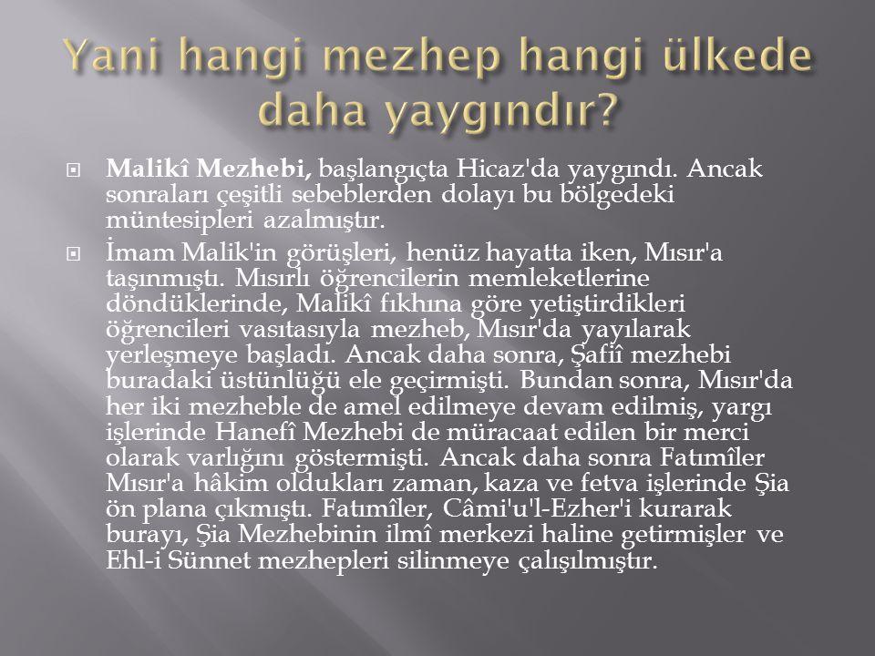  Malikî Mezhebi, başlangıçta Hicaz'da yaygındı. Ancak sonraları çeşitli sebeblerden dolayı bu bölgedeki müntesipleri azalmıştır.  İmam Malik'in görü