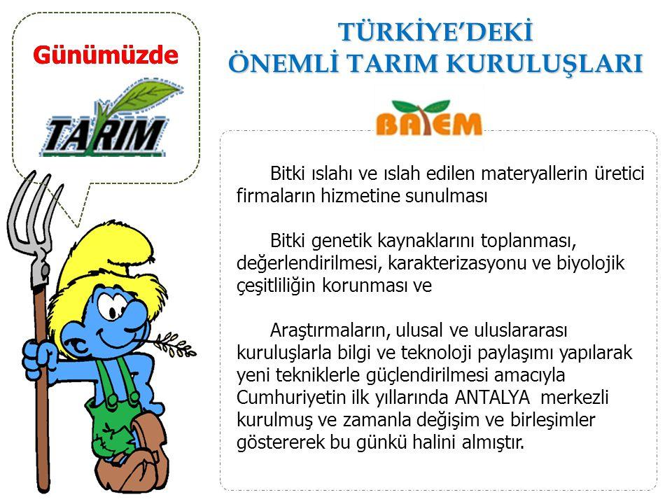Günümüzde TÜRKİYE'DEKİ ÖNEMLİ TARIM KURULUŞLARI Çiftçilerin elindeki ürünleri alarak, piyasada değerlendirilmesini sağlamak ve yaptığı Destekleme Alım