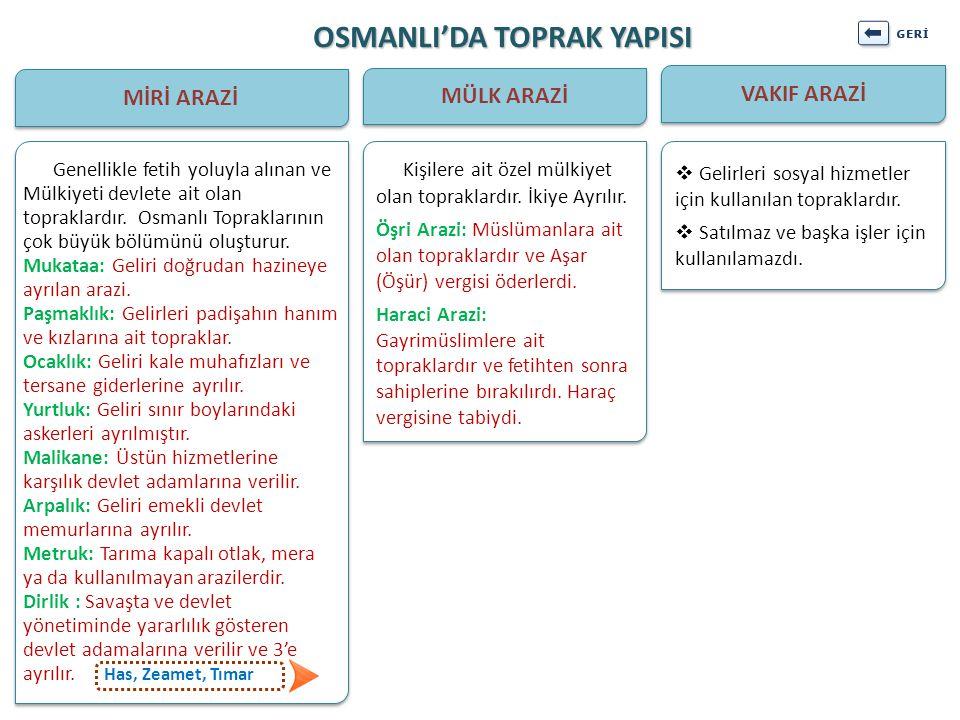 OSMANLI'DA TOPRAK YAPISI MİRİ ARAZİ MÜLK ARAZİ VAKIF ARAZİ  Gelirleri sosyal hizmetler için kullanılan topraklardır.