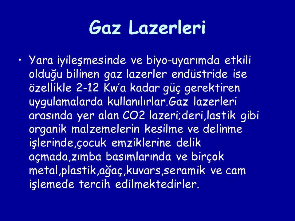Gaz Lazerleri Yara iyileşmesinde ve biyo-uyarımda etkili olduğu bilinen gaz lazerler endüstride ise özellikle 2-12 Kw'a kadar güç gerektiren uygulamal