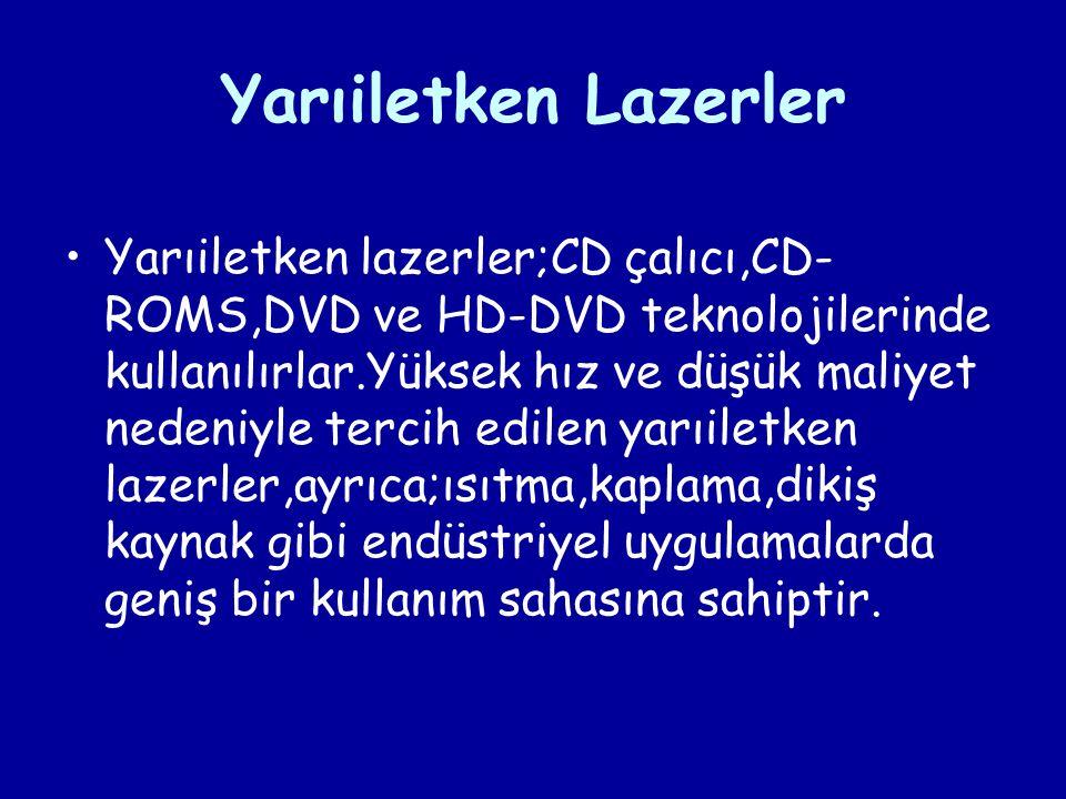 Yarıiletken Lazerler Yarıiletken lazerler;CD çalıcı,CD- ROMS,DVD ve HD-DVD teknolojilerinde kullanılırlar.Yüksek hız ve düşük maliyet nedeniyle tercih