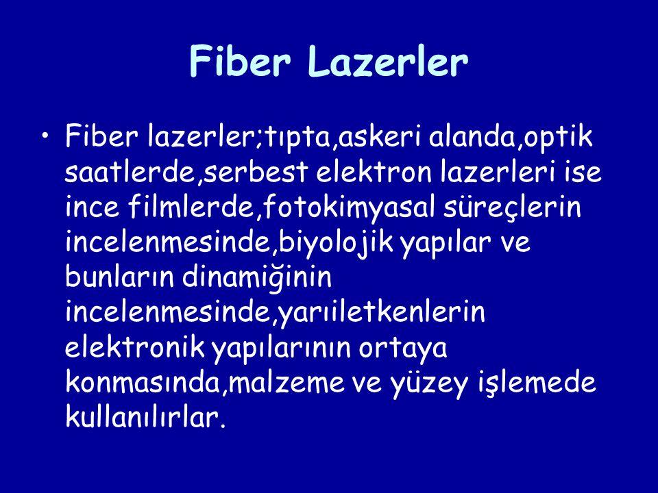 Fiber Lazerler Fiber lazerler;tıpta,askeri alanda,optik saatlerde,serbest elektron lazerleri ise ince filmlerde,fotokimyasal süreçlerin incelenmesinde