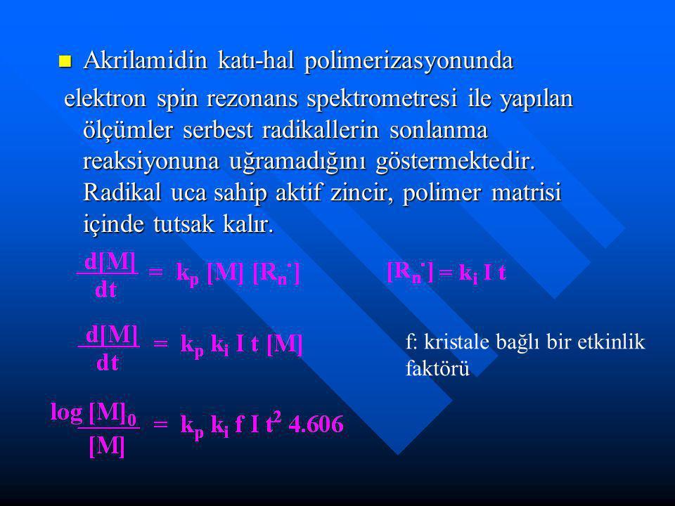 Akrilamidin katı-hal polimerizasyonunda Akrilamidin katı-hal polimerizasyonunda elektron spin rezonans spektrometresi ile yapılan ölçümler serbest radikallerin sonlanma reaksiyonuna uğramadığını göstermektedir.