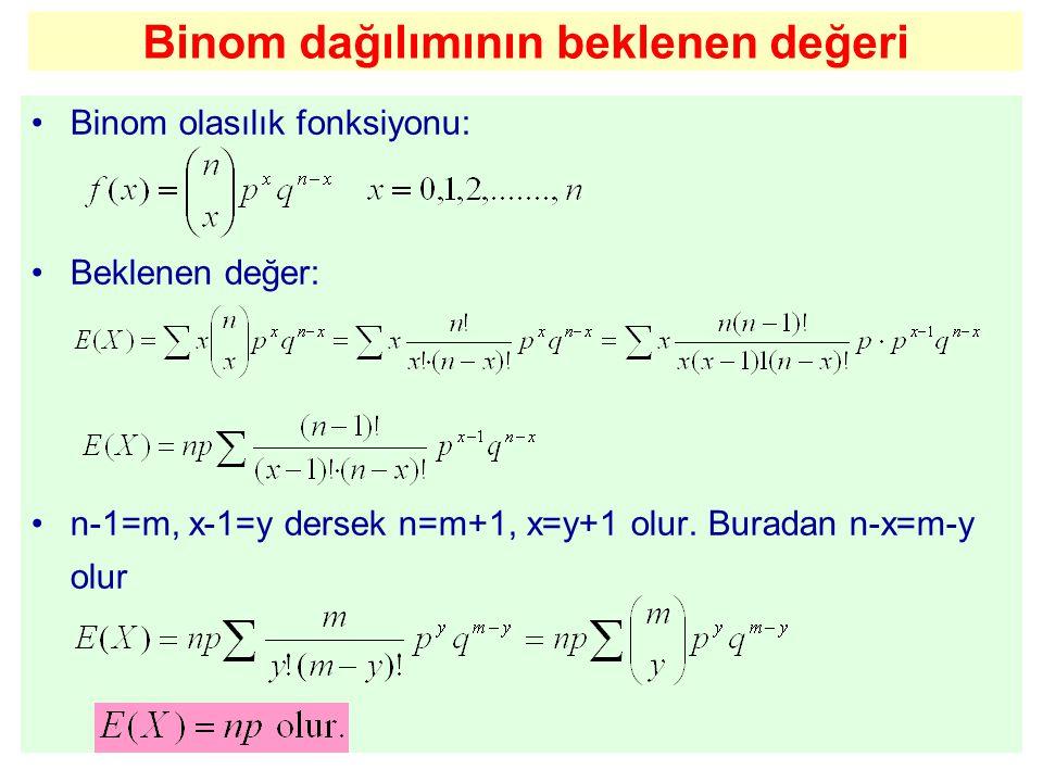 Binom dağılımının beklenen değeri Binom olasılık fonksiyonu: Beklenen değer: n-1=m, x-1=y dersek n=m+1, x=y+1 olur. Buradan n-x=m-y olur