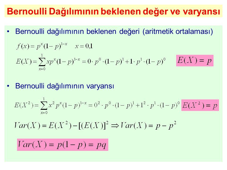 Bernoulli Dağılımının beklenen değer ve varyansı Bernoulli dağılımının beklenen değeri (aritmetik ortalaması) Bernoulli dağılımının varyansı