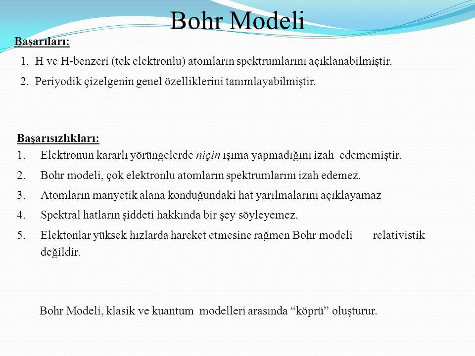 Bohr Modeli Başarıları: 1. H ve H-benzeri (tek elektronlu) atomların spektrumlarını açıklanabilmiştir. 2. Periyodik çizelgenin genel özelliklerini tan