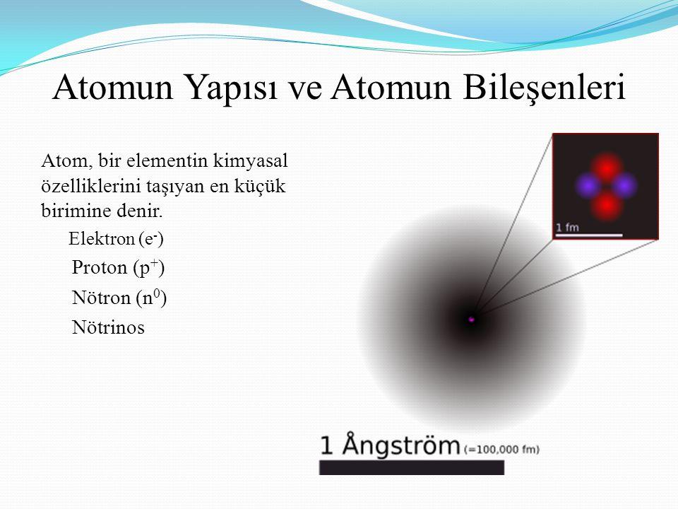 Atomun Yapısı ve Atomun Bileşenleri Atom, bir elementin kimyasal özelliklerini taşıyan en küçük birimine denir. Elektron (e - ) Proton (p + ) Nötron (