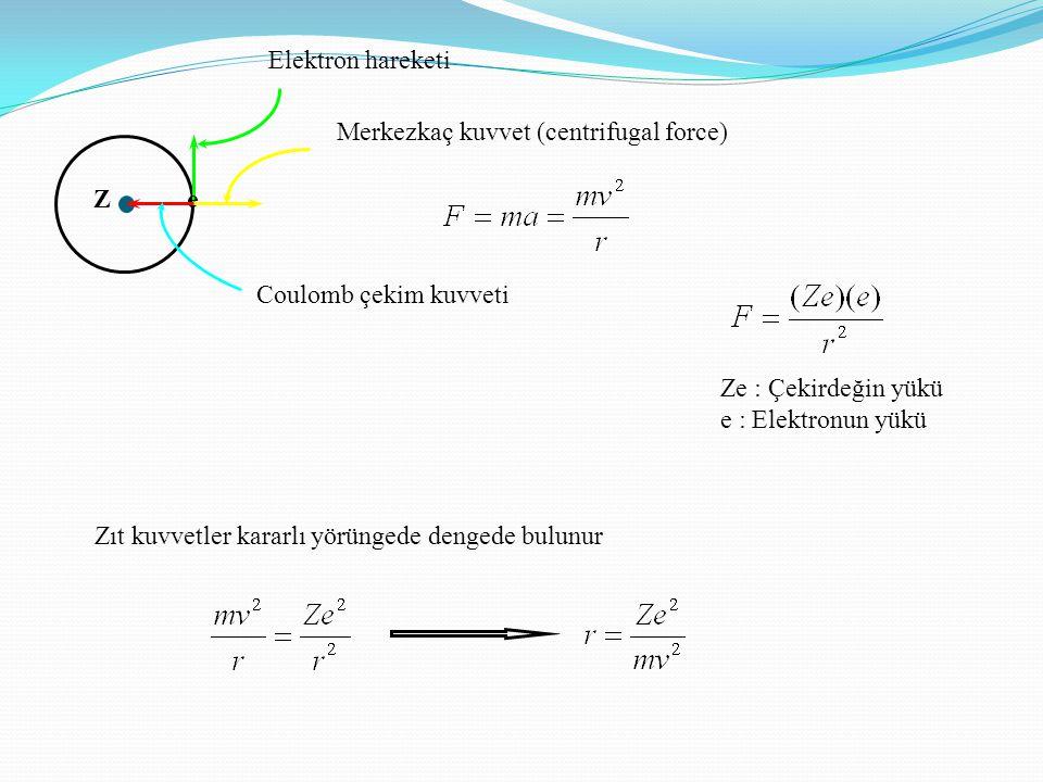 Elektron hareketi Ze Coulomb çekim kuvveti Merkezkaç kuvvet (centrifugal force) Zıt kuvvetler kararlı yörüngede dengede bulunur Ze : Çekirdeğin yükü e