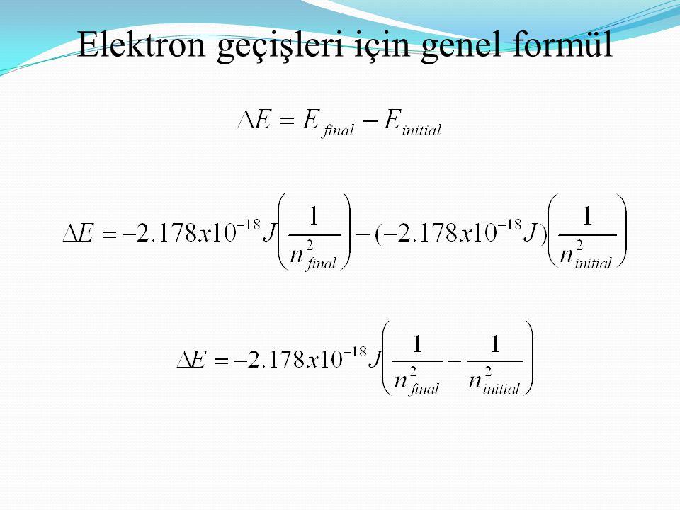 Elektron geçişleri için genel formül