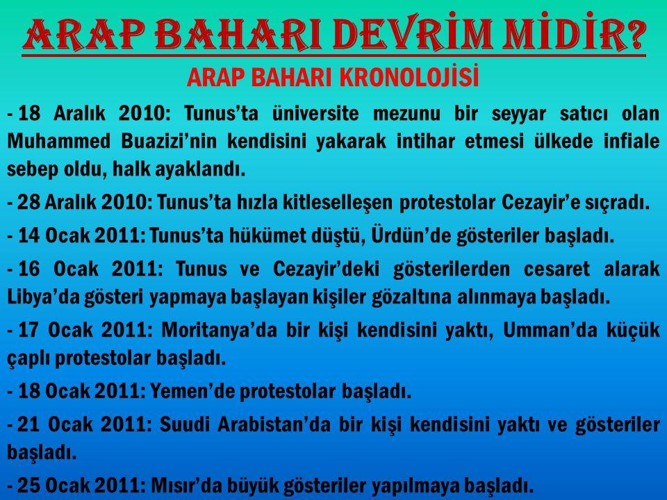 ARAP BAHARI DEVR İ M M İ D İ R? ARAP BAHARI KRONOLOJİSİ - 18 Aralık 2010: Tunus'ta üniversite mezunu bir seyyar satıcı olan Muhammed Buazizi'nin kendi