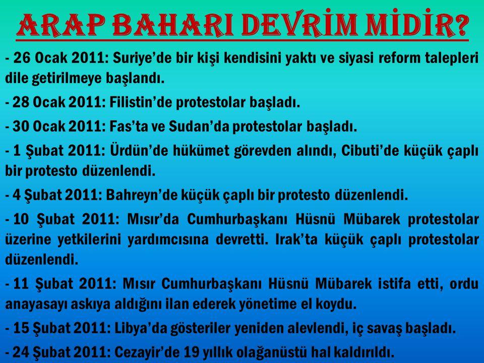 ARAP BAHARI DEVR İ M M İ D İ R? - 26 Ocak 2011: Suriye'de bir kişi kendisini yaktı ve siyasi reform talepleri dile getirilmeye başlandı. - 28 Ocak 201