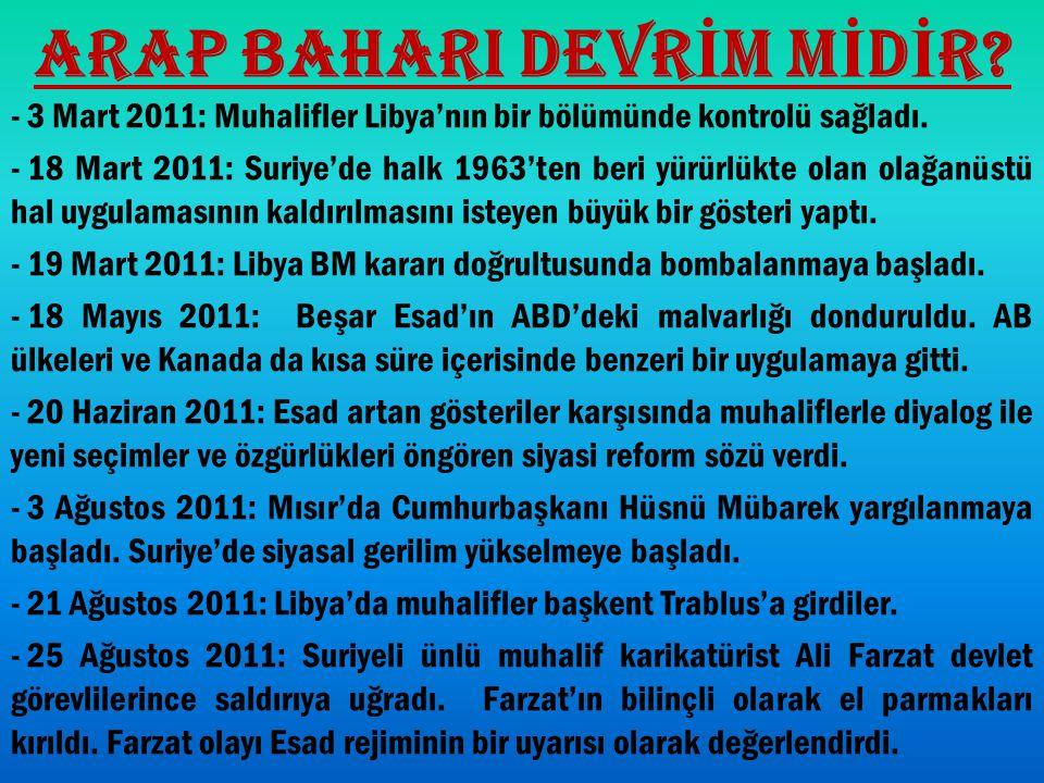 ARAP BAHARI DEVR İ M M İ D İ R? - 3 Mart 2011: Muhalifler Libya'nın bir bölümünde kontrolü sağladı. - 18 Mart 2011: Suriye'de halk 1963'ten beri yürür