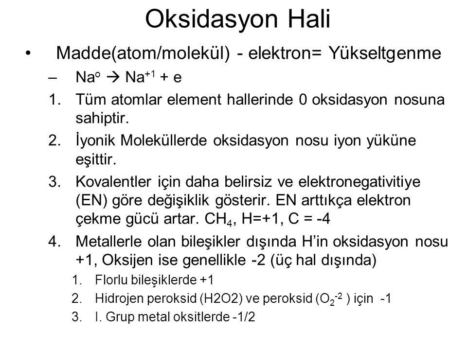Oksidasyon Hali Madde(atom/molekül) - elektron= Yükseltgenme –Na o  Na +1 + e 1.Tüm atomlar element hallerinde 0 oksidasyon nosuna sahiptir. 2.İyonik