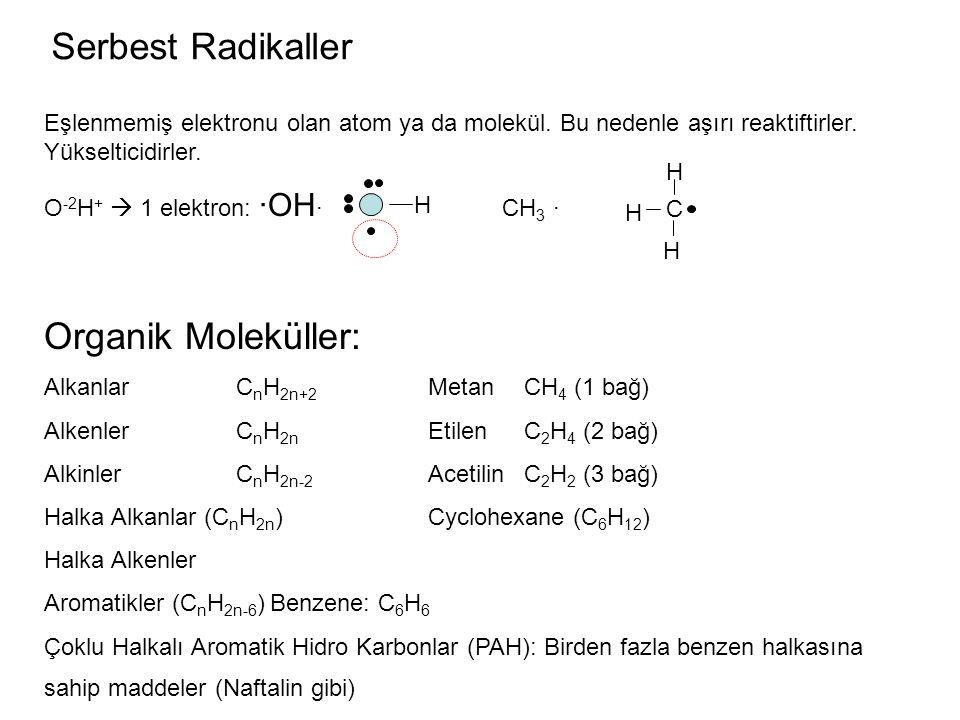 Serbest Radikaller Eşlenmemiş elektronu olan atom ya da molekül. Bu nedenle aşırı reaktiftirler. Yükselticidirler. O -2 H +  1 elektron: ·OH · CH 3 ·
