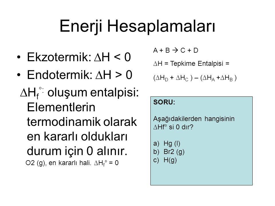 Enerji Hesaplamaları Ekzotermik: ∆H < 0 Endotermik: ∆H > 0 ∆H f °: oluşum entalpisi: Elementlerin termodinamik olarak en kararlı oldukları durum için