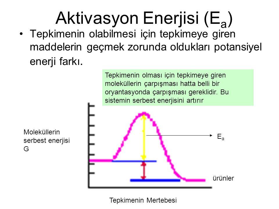 Aktivasyon Enerjisi (E a ) Tepkimenin olabilmesi için tepkimeye giren maddelerin geçmek zorunda oldukları potansiyel enerji farkı. EaEa ürünler Molekü
