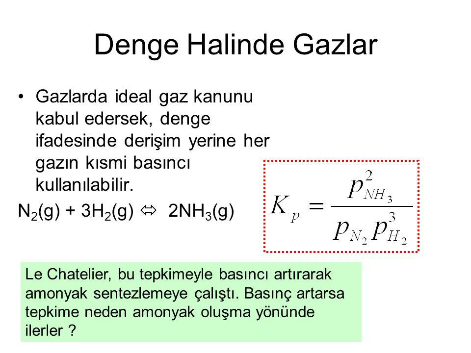 Denge Halinde Gazlar Gazlarda ideal gaz kanunu kabul edersek, denge ifadesinde derişim yerine her gazın kısmi basıncı kullanılabilir. N 2 (g) + 3H 2 (