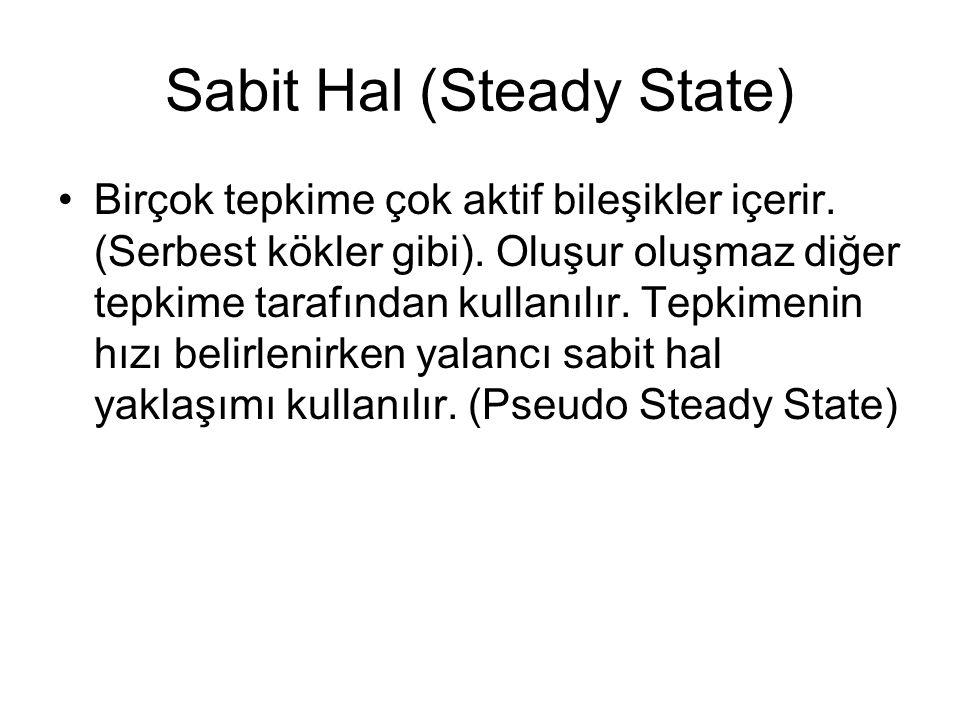 Sabit Hal (Steady State) Birçok tepkime çok aktif bileşikler içerir. (Serbest kökler gibi). Oluşur oluşmaz diğer tepkime tarafından kullanılır. Tepkim